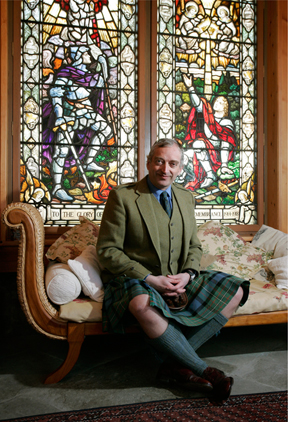 Lord Monckton in the Summer-House at his estate in Highland Perthshire