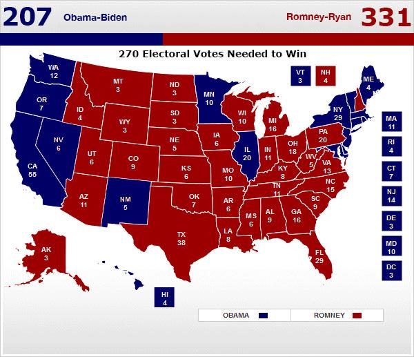 electoral map: Romney 331, Obama 205