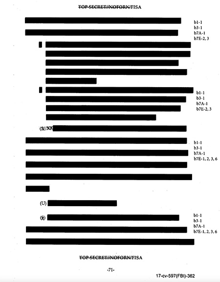 redacted FISA page