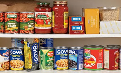 Pantry with cans of food